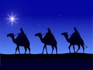 Wise Men on camels following the Star