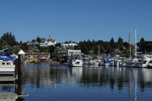 """A view of """"Little Norway,"""" Poulsbo, WA from Liberty Bay."""