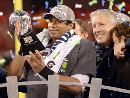 Russell Wilson, Pete Carroll and The Lombardi Trophy