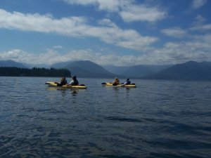 One of the best ways, growing up, to enjoy the abundance of water and water ways in Western Washington was to go kayaking.  Here is a photo of some of my family (including me) out on Hood Canal.