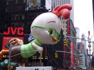 One depiction of a more modern Chicken Little (as a balloon in the Macy's Day Parade)