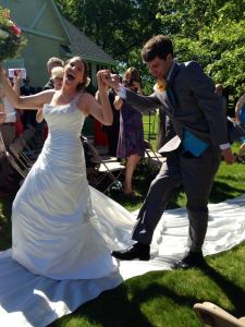 Katie and Will dancing down the aisle!