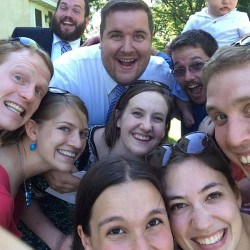 A bunch of seminary friends together at Will and Katie's wedding doing an epic selfie!