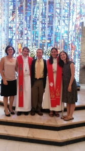Photo of newly ordained Pastor Amanda Ullrich with her husband Pastor Jeremy Ullrich and Luther Seminary friends Mandy Brobst-Renaud, Allison Siburg and Timothy Siburg (photo courtesy of Allison Siburg)