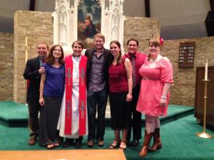 Pastor Jeremy Ullrich, newly ordained with friends from Texas Lutheran University and Luther Seminary. Photo courtesy of Lauren Lys
