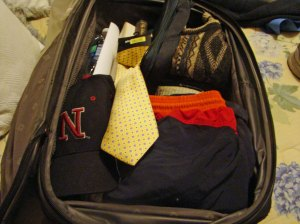 A small but typically packed suitcase