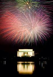 4th of July Fireworks in Washington DC (behind the Lincoln Memorial)