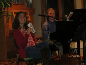 My wife, Allison, and I in between leading music in evening worship on piano and cello.