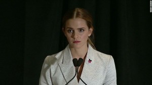 Actress Emma Watson speaks before the United Nations. She is currently serving as the UN Women's Goodwill Ambassador.