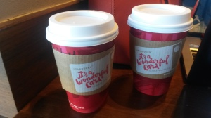Our Friday Afternoon Work Date companions- my Peppermint Hot Chocolate and Allison's  Decaf Peppermint Mocha.