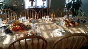 Beautiful table all set for Thanksgiving Dinner