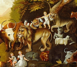 """Peaceable Kingdom,"" painted by Edward Hicks in 1820, depicting this passage from Isaiah"