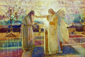 Zechariah being foretold by the Angel Gabriel about the birth of his son