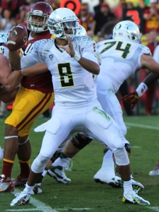 University of Oregon Quarterback and Heisman Trophy Award Winner, Marcus Mariota will lead Oregon against Florida State on New Year's Day in the Rose Bowl in the first game of the first ever College Football Playoff. The winner will face the Sugar Bowl winner, Alabama or Ohio State in the National Championship.