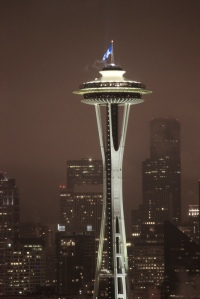 The 12th Man Flag flies a top the Space Needle in Seattle. Go Hawks!