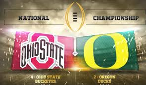 The College Football National Championship between #4 Ohio State and #2 Oregon will be played Monday January 12th at 8:30pm ET on ESPN.