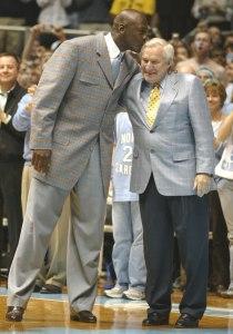 Coach Dean Smith with Michael Jordan
