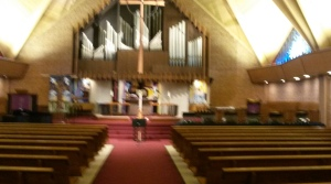 The sanctuary is all set up for evening worship and a bell choir rehearsal.
