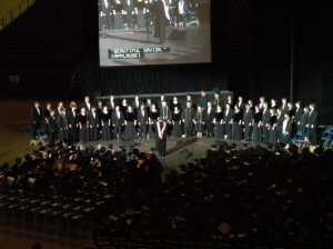 The last time I sang officially as a member (and before becoming an alumni) of the Choir of the West, at Commencement.