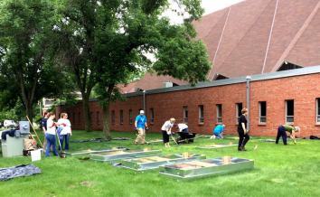 Some volunteers working in the Loaves & Fishes Community Garden at Woodlake Lutheran Church