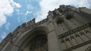Looking up in awe at the National Cathedral (on one of our trips to Washington D.C.)