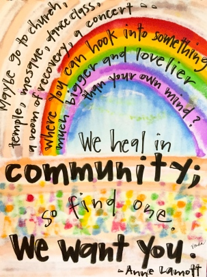 """we heal in community"" by Vonda Drees"