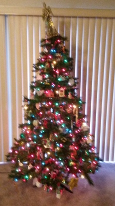 Our in-progress Christmas tree