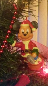 The first ornament I remember putting on the tree, Santa Mickey