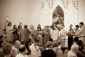 """Singing the F. Melius arrangement of """"Beautiful Savior"""" - what happens when you have a whole lot of Lutherans (and Lutheran college choir people) together for a wedding."""