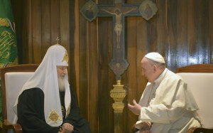 Pope Francis and Patriarch Kirill meeting together last week
