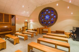 The Rose Window inside the Tower Chapel at Pacific Lutheran University. At the center of the window is a depiction of the Lamb who becomes the Good Shepherd. This room and window holds a special place in my heart, as a PLU alum. It is the space in which I asked Allison to marry me... the rest is history.