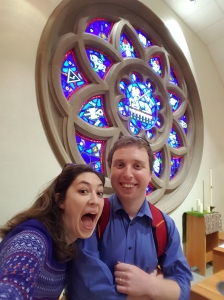 "Allison and I, recently after a synod meeting, went for a walk around campus at Pacific Lutheran University, and found ourselves back in the Tower Chapel, in front of the Rose Window. That's the room where she said ""yep."" It's also the room where we spent a lot of time in prayer back in college, a big part of our vocational discovery and ministry journey."