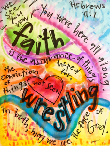 """Faith W-rest-ling,"" by Vonda Drees."